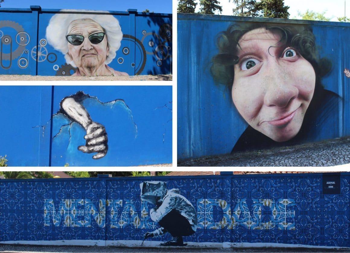 Streetart Lisbon blue wall hospital