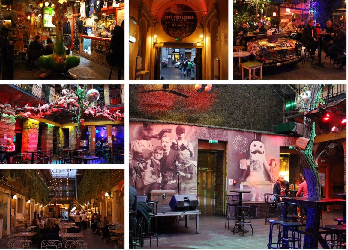 Boedapest ruine cafes at night