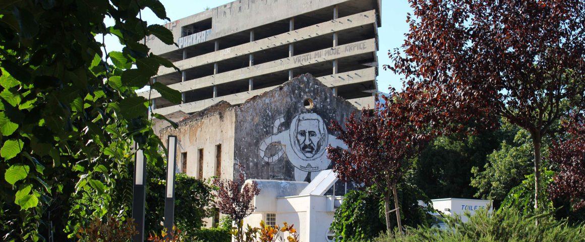 Street art Sniper Building Mostar