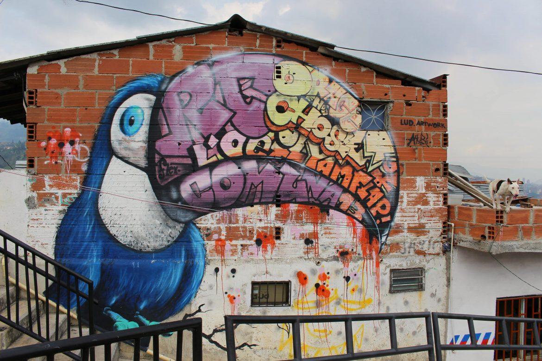 Street art bird medellin