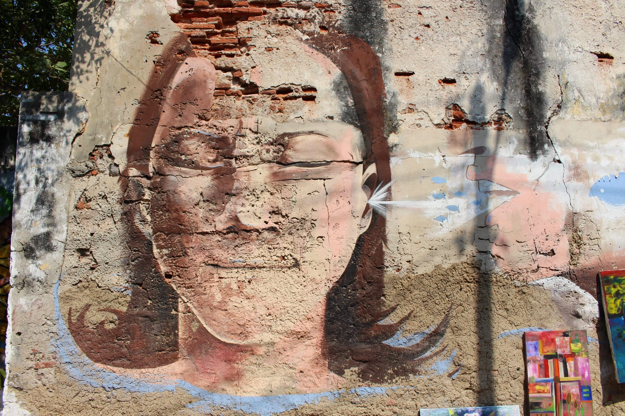 Street art Getsemani head Cartagena
