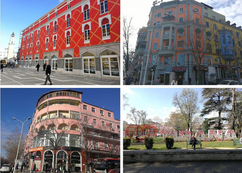 Tirana kleurrijke gebouwen