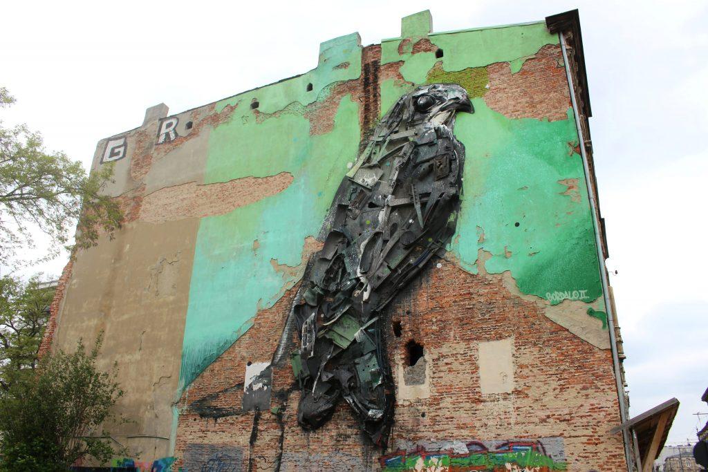 Street art Lodz mural bordalo